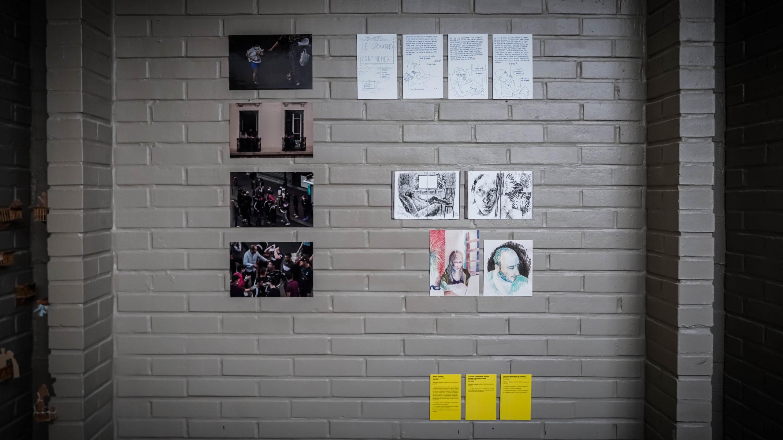 """""""Quatre Chemins"""" , """"Le Grand Confinement, journal d'usage d'un espace réduit"""" & """"Diverses illustrations de confinés"""" - Mélusine Pagnier - Exposition """"Souvenirs Déconfinés"""" ENSAPL"""